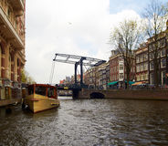 Bridge over canal in Amsterdam Royalty Free Stock Image