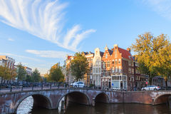 Bridge over canal in Amsterdams Royalty Free Stock Photo