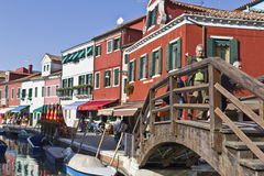 Bridge over canal in Burano, Venezia Italy Royalty Free Stock Photo