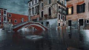 Bridge over canal flooded at Acqua Alta in Venice 4K