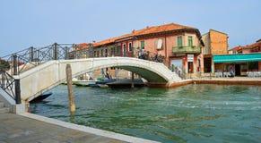 Bridge over Canal Island of Murano Venice. Stock Images