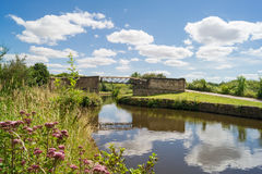 Bridge over the canal. Bridge over the Leeds-Liverpool canal near Wigan, England Stock Photo