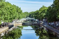 Bridge over the Canal Saint-Martin in Paris royalty free stock photography