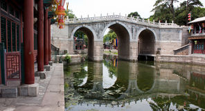 A Bridge over a Canal, Summer Palace, Beijing. A bridge in the shopping plaza for the imperial household and guests Royalty Free Stock Photo