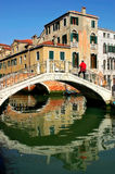 Bridge over canal. Venice, Italy. Small bridge over venetian canal in Venice, Italy Royalty Free Stock Images