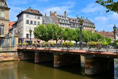 Bridge over the canals of Strasbourg, France Royalty Free Stock Image