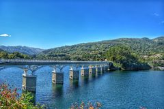 Bridge over the cavado river. In geres Portugal royalty free stock image