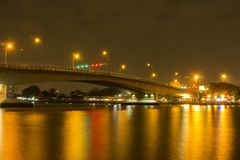 Bridge over Chao Phraya Light reflecting Royalty Free Stock Photography
