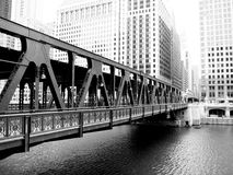 A bridge over the Chicago river. Royalty Free Stock Image