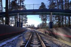 Bridge over the children`s railway. In winter stock images