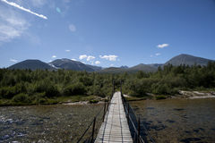 Bridge over clean and clear river in the forest, Rondane Stock Photo