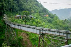 Bridge over Colombian Jungle Valley royalty free stock photography