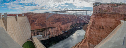 Bridge over the Colorado River and Hoover Dam Royalty Free Stock Image