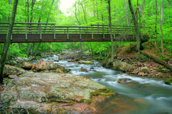 Bridge over Creek. Wooden foot bridge over a creek right after a Spring rain Royalty Free Stock Photos