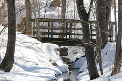 Bridge over Crevice. Little wooden bridge spanning a deep crevice full of water, surrounded by snow, in a forested area Royalty Free Stock Photos
