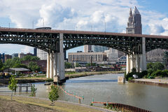 Bridge Over The Cuyahoga River. The Hope Memorial Bridge spanning the Cuyahoga River with downtown Cleveland, Ohio in the background as seen from the Scranton stock photo