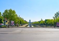 Bridge over Dambovita river in a sunny spring day with bright blue sky. Bucharest, Romania 20.05.2019 stock images