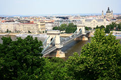 The bridge over the Danube. The bridge over the Danube in Budapest Royalty Free Stock Images
