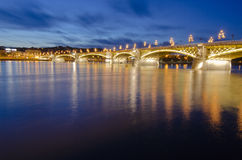 Bridge over Danube at night in Budapest Royalty Free Stock Photo