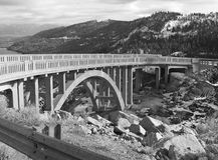Bridge over Donner Lake. An old bridge spanning Donner Lake, California taken in black and white Royalty Free Stock Images