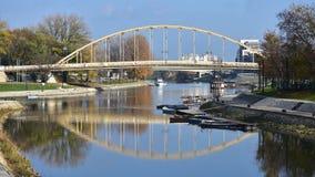 Bridge over Duna-Raba canal. In town Gyor in Hungary Stock Image