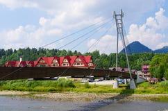 Bridge over Dunajec. River connecting polish and slovak coast Stock Image