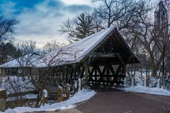 Bridge over the DuPage River West Branch in Naperville, IL royalty free stock image