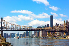 The bridge over East River in Manhattan, New York. Stock Photos