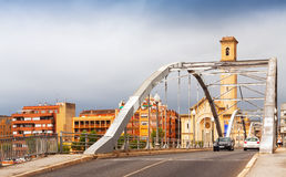 Bridge  over Ebro river and church in Tortosa Stock Photography