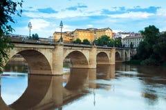 Bridge over Ebro  in summer evening. Logrono Royalty Free Stock Photography