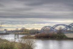 Bridge over the Elbe. A bridge in Hamburg crossing the Elbe on a cloudy day Stock Photography