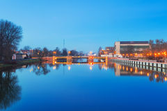 Bridge over Elblag canal at night Stock Photo