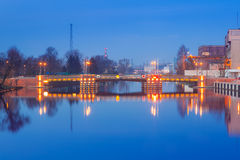 Bridge over Elblag canal at night Royalty Free Stock Photography
