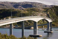 Bridge over the fjord, Sommaroy, Tromso county, Norway, landscape Stock Image