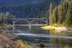 Bridge over Flathead river. Stock Photos