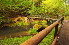 Bridge over flowing Kamenice River in green forest. Hiking trail in Bohemian Switzerland National Park royalty free stock photography