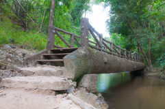 Bridge over a flowing river Stock Images