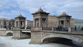 Lomonosov Bridge in St. Petersburg. Bridge over the Fontanka river in the Central district of St. Petersburg Royalty Free Stock Image