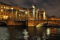 Bridge over Fontanka river in Saint-Petersburg. Night view on a bridge on Fontanka river in Saint-Petersburg, Russia Royalty Free Stock Image