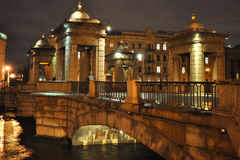 Bridge over Fontanka river in Saint-Petersburg Stock Photos