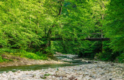 Bridge over the forest river. Wooden bridge over the winding forest river. rocky shoreline among green trees. wonderful summer nature Stock Images