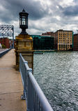 Bridge over Fort Point Channel in Boston, Massachusetts. Royalty Free Stock Images