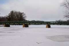 Bridge Over The Frozen Fox River Royalty Free Stock Photos