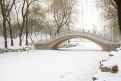 Bridge over frozen river Stock Photo
