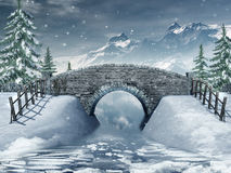 Bridge over a frozen river. Winter scenery with a bridge over a frozen river Stock Photo