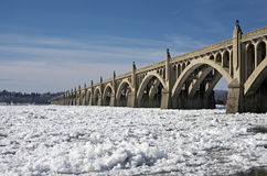 Bridge Over Frozen River Royalty Free Stock Photo