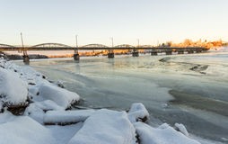 Bridge over Frozen River in Umeå, Sweden Royalty Free Stock Photo
