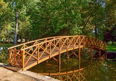 Bridge over garden lake in Vidago stock images