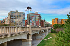 Bridge over Gardens of Turia in Valencia. Stock Image