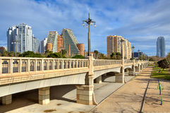Bridge over Gardens of Turia in Valencia. Stock Photos